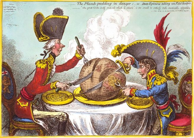 'The plumb-pudding in danger: - or - state epicures taking un petit souper' (William Pitt; Napoléon Bonaparte) by James Gillray © National Portrait Gallery, London