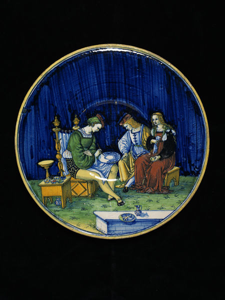 Dish showing a maiolica painter at work, made by Jacopo, Cafaggiolo, Italy, 1510-15. London, Victoria and Albert Museum.