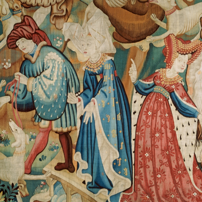 Detail of The Devonshire Hunting Tapestries; Boar and Bear Hunt, unknown maker, about 1425-1430.