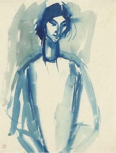 Amedeo Modigliani, Adrienne, 1909, blue ink wash on paper. Courtesy of 20|20 International Art Fair