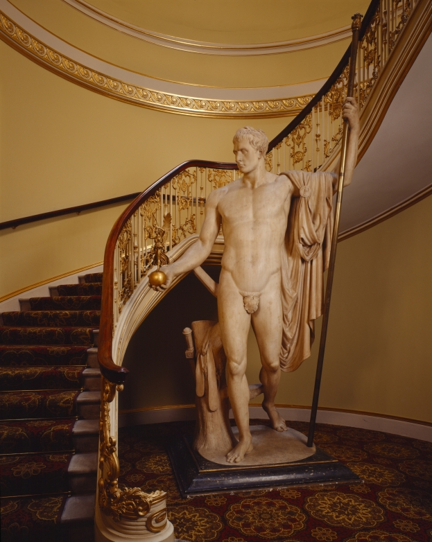 View of the statue of Napoleon holding a figure of Victory by Antonio Canova, in the stairwell at Apsley House