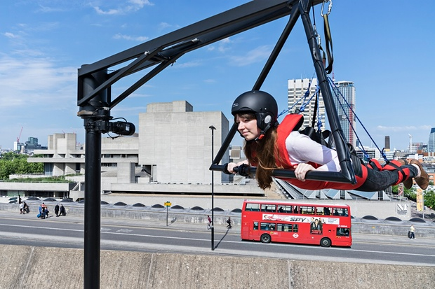 One of Carsten Holler's Two Flying Machines, 2015: 'marginally cheaper than a bungee jump'. Photograph: Ela Bialkowska