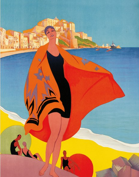 Plage de Calvi, Corse, 1928 (Colour Litho) Broders Roger Private Collection Photo © Christies Images Bridgeman Images.