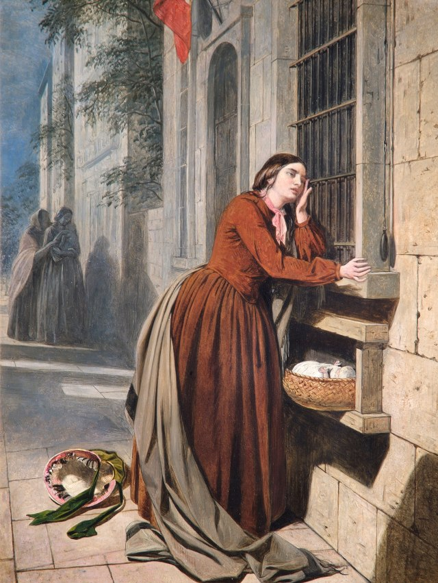 Henry Nelson O'Neil, A Mother Depositing Her Child at the Foundling