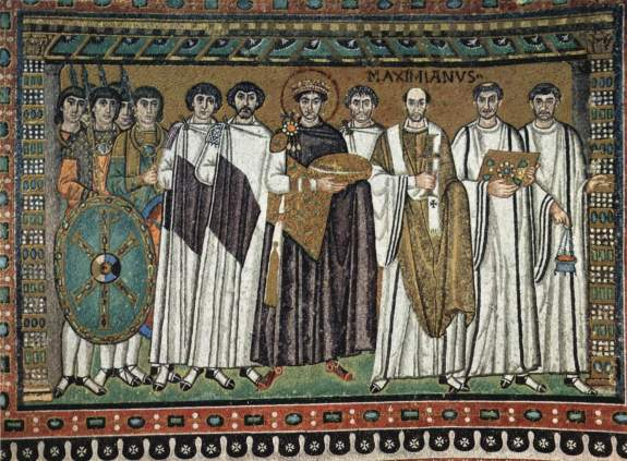 The mosaic of Emperor Justinian and his retinue, 547 D.C. San Vitale, Ravenna.