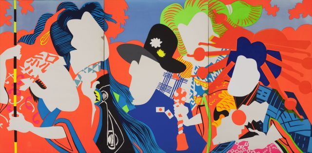 Ushio Shinohara, Doll Festival 1966 (Download high resolution image 2.02 MB) Doll Festival 1966 Fluorescent paint, oil, plastic board on plywood Hyogo Prefectural Museum of Art (Yamamura Collection) © Ushio and Noriko Shinohara