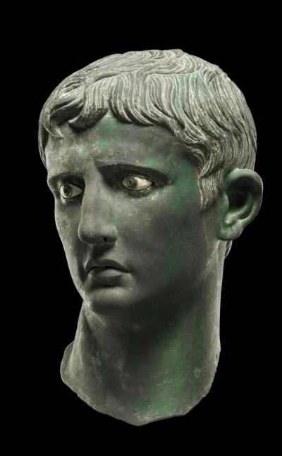 Head of Augustus, bronze head from an over-life-sized statue, likely made in Egypt, C.27-25 BC Credit British Museum