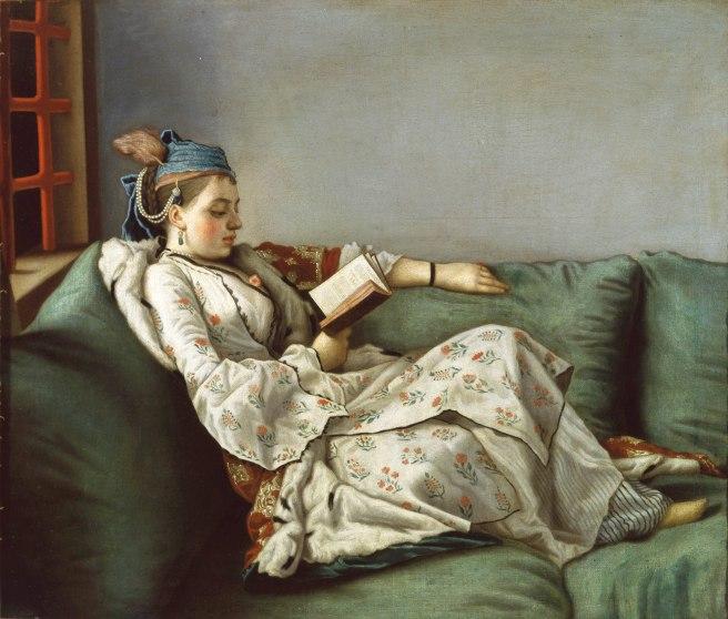 Jean-Etienne Liotard, Woman on a Sofa Reading, 1752