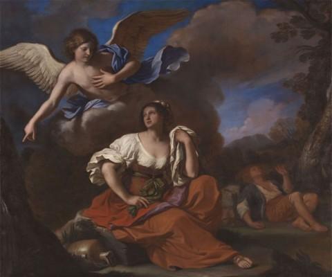 Guercino, L'angelo appare ad Agar e Ismaele, 1652 ca.