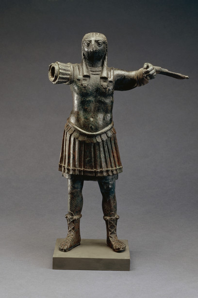 Standing-figure-of-the-Roman-god-Horus-wearing-Roman-military-costume-bronze-Egypt-1st-2nd