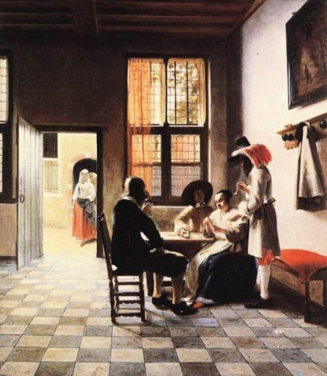 Card Players in a Sunlit Room by Pieter de Hooch (1658) London, Royal Collection