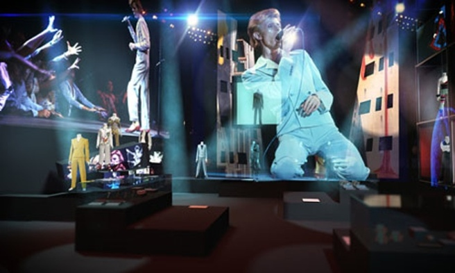 David Bowie Is: floor-to-ceiling screens showing live footage are awe-inspiring. Photograph: V&A