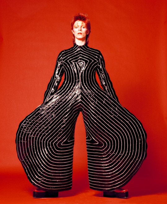 Striped bodysuit for Aladdin Sane tour, 1973. Design by Kansai Yamamoto. Photograph by Masayoshi Sukita © Sukita / The David Bowie Archive 2012