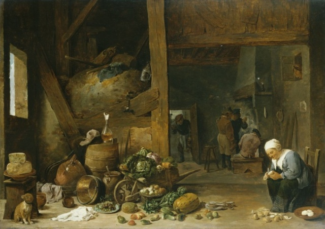 The Interior of a Kitchen with an Old Woman Peeling Turnips c. 1640-44 Royal Collection Trust© Her Majesty Queen