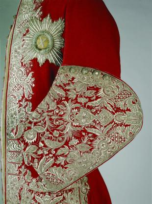 Red wool coat with silver embroidery worn by Peter II, 1727-30.