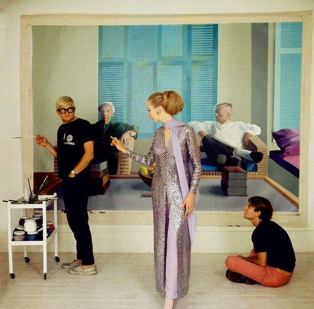 Peter Schlesigner,David Hockney and Maudie James, photographed by Cecil Beaton, 1968 Credit: Cecil Beaton/NPG