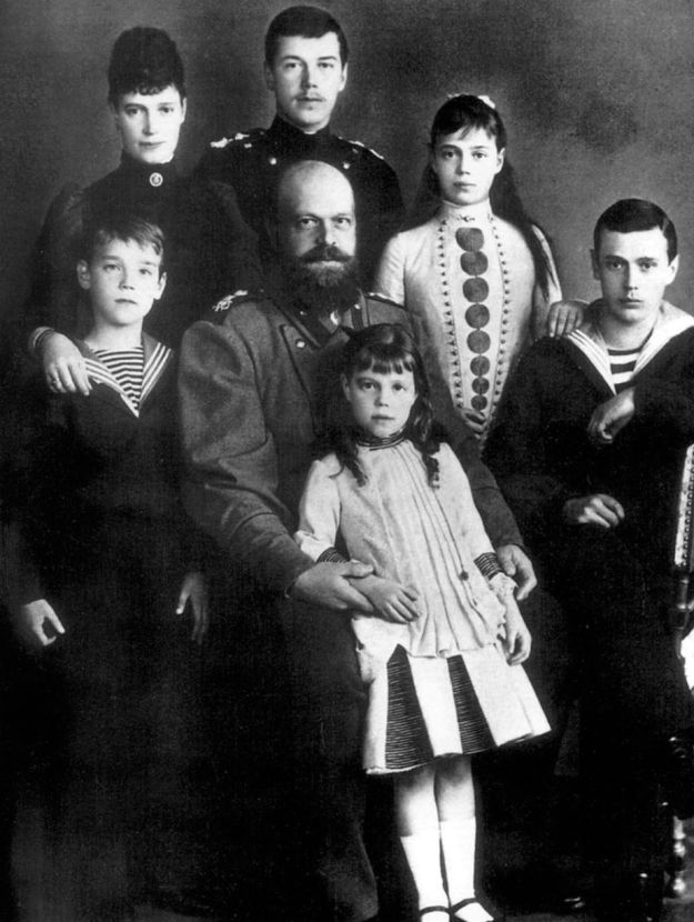 Russian royalty Tsar Alexander III and Empress Marie fedorovna of Russia with their children