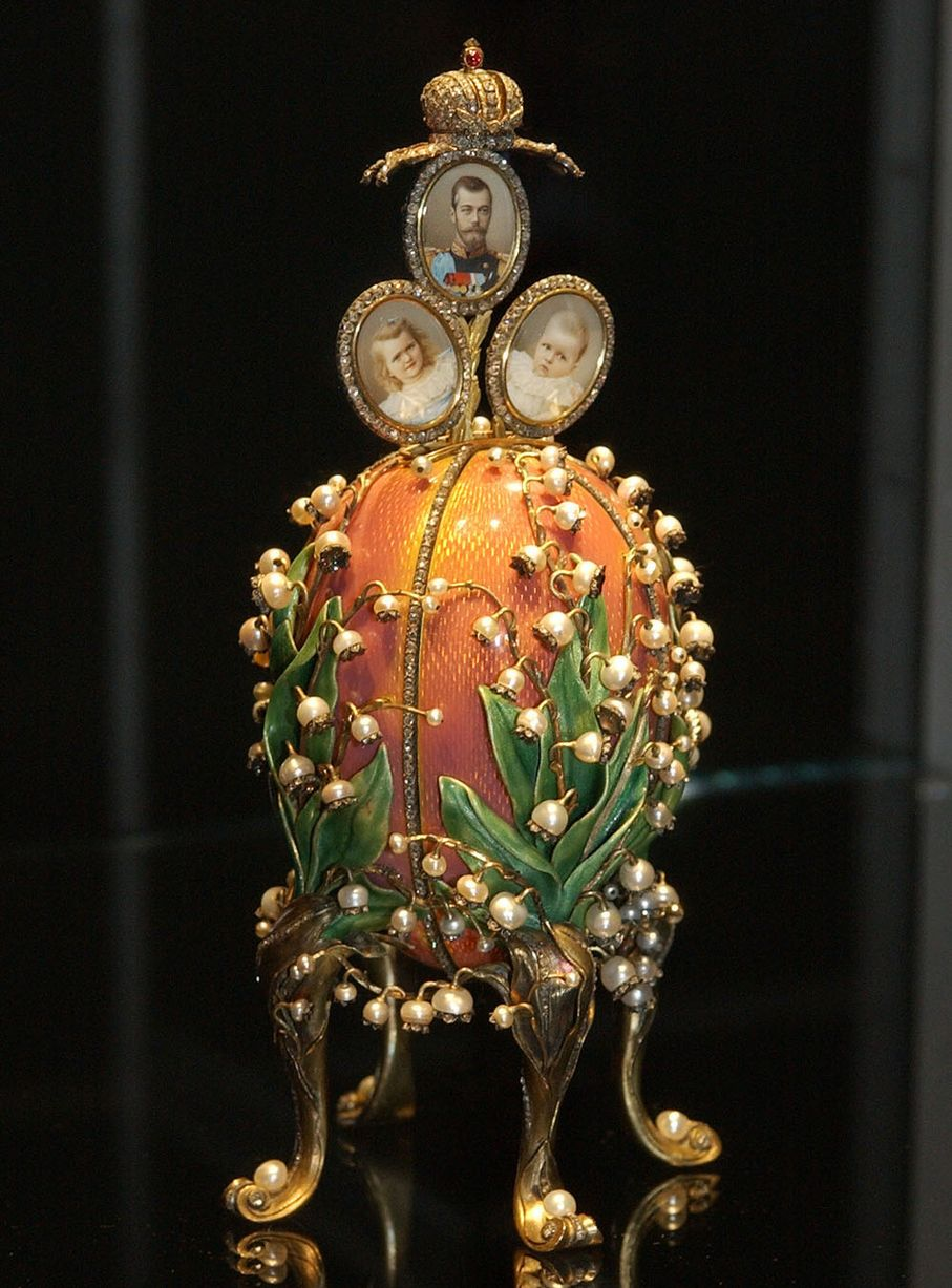 The Faberge Lillies of the Valley Egg, a gift from Nicholas II to his Empress Alexandra Fyodorovna.
