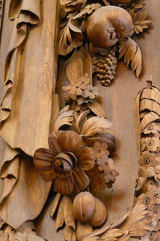 Wood carving by Grinling Gibbons in the apartments of king William III at Hampton Court Palace