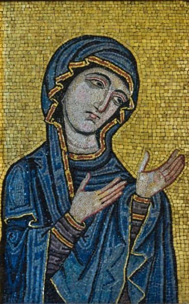 Byzantine-style mosaic showing the Virgin as Advocate for the Human Race, originally from Palermo Cathedral, c.1130-1180 AD