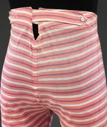 Men's striped cotton underpants, c1890s. Photograph V&A