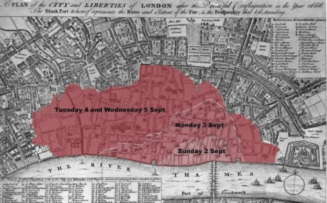 A map showing the extent of the fire's damage Credit: The Museum of London