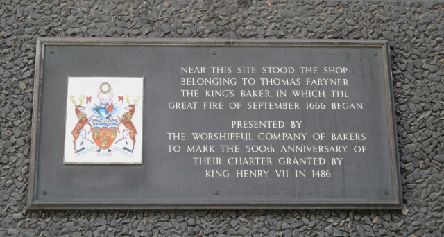 Plaque in Pudding Lane commemorating the Greta Fire of 1666. London, 2016 © Paola Cacciari