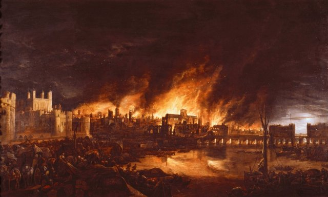 The Great Fire of London of 1666 as recreated in a painting. Photograph ImagnoGetty Images