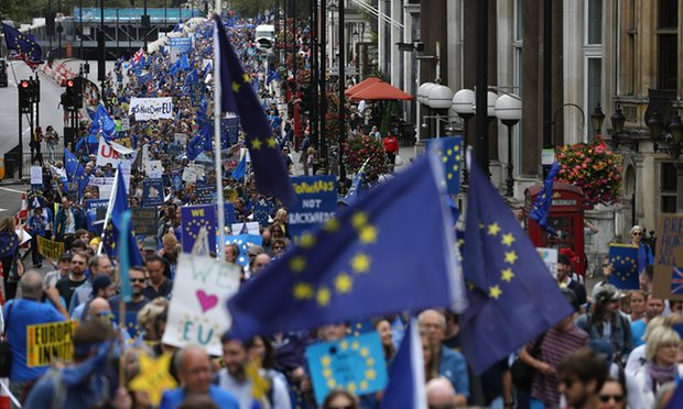 March for Europe protest against the Brexit vote. Photograph Justin TallisAFP Getty Images
