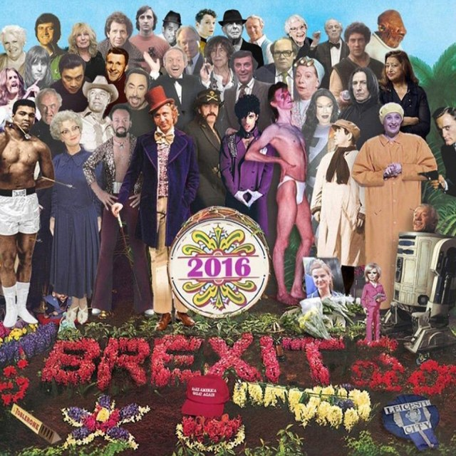 Cover of The Beatles album Sgt Pepper with celebrities that died in 2016 by British artist Chris Barker