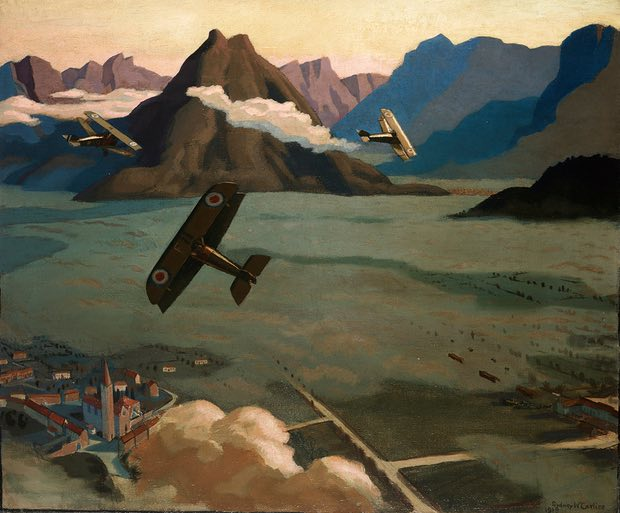 Made on the wing': British Scouts leaving their Aerodrome on Patrol, over the Asiago Plateau, Italy, 1918 by Sydney Carline. Photograph: Courtesy Imperial War Museum