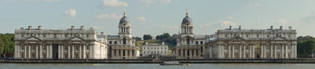 Old Royal Naval College, viewed from the north side of the Thames river. Photo © Bill Bertram