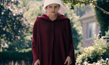 Offred, played by Elisabeth Moss, struggles to survive in The Handmaid_s Tale. Photograph George KraychykHulu