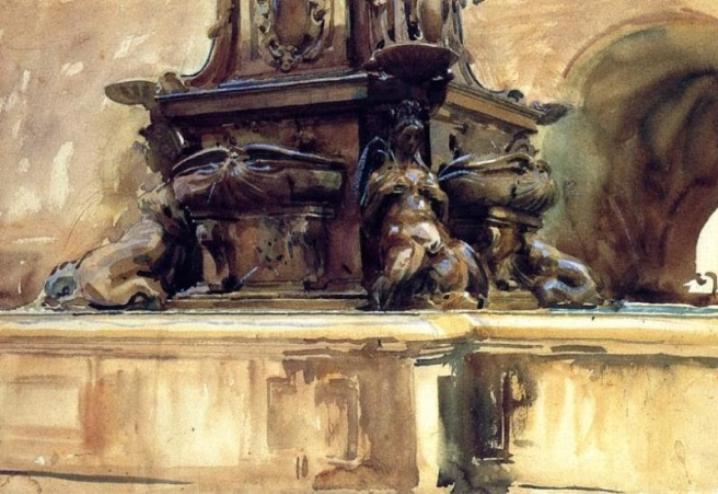John Singer Sargent's Fountain in Bologna (1906) watercolour on paper Private Collection