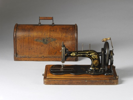 Singer sewing machine with moulded plywood cover, 1888. Photograph Victoria and Albert Museum, London