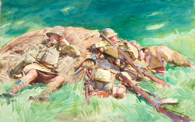 Highlanders resting at the Front. Sargent, 1918. © Fitzwilliam Museum, Cambridge