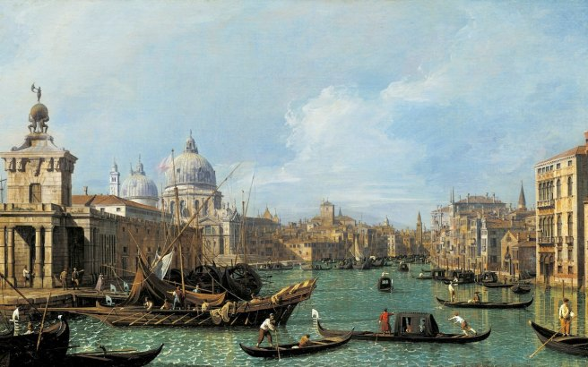 Canaletto, The Mouth of the Grand Canal looking West towards the Carità, c.1729–30, from a set of 12 paintings of the Grand Canal Credit: Royal Collection Trust