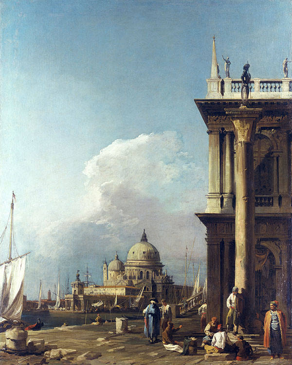 Canaletto's 'The Piazzetta looking towards Santa Maria della Salute' (c1723-4) illustrates his early style © Royal Collection Trust