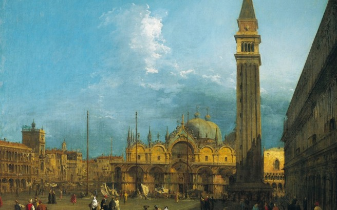 Caneletto, Piazza San Marco looking East towards the Basilica and the Campanile, c.1723–4 , part of a set of six views of Venice Canaletto, Piazza San Marco looking East towards the Basilica and the Campanile, c.1723–4 , part of a set of six views of Venice Credit: Royal Collection Trust