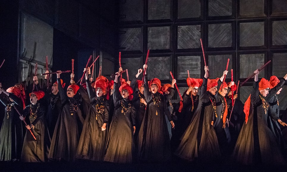 A scene from Macbeth by Verdi, conducted by Antonio Pappano. Royal Opera House 2018. Photograph: Tristram Kenton for the Guardian