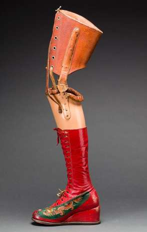 Kahlo's prosthetic leg. Composite: Nickolas Muray Photo Archives/Diego Riviera and Frida Kahlo Archives, Banco de México