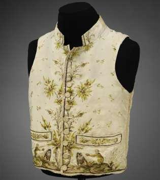 Men's silk macaque monkey-print waistcoat, 1780–89. Photograph: V&A Museum