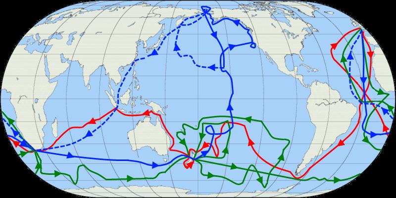 Le rotte dei viaggi di James Cook. Il primo viaggio è mostrato in rosso, il secondo in verde, il terzo in blu.
