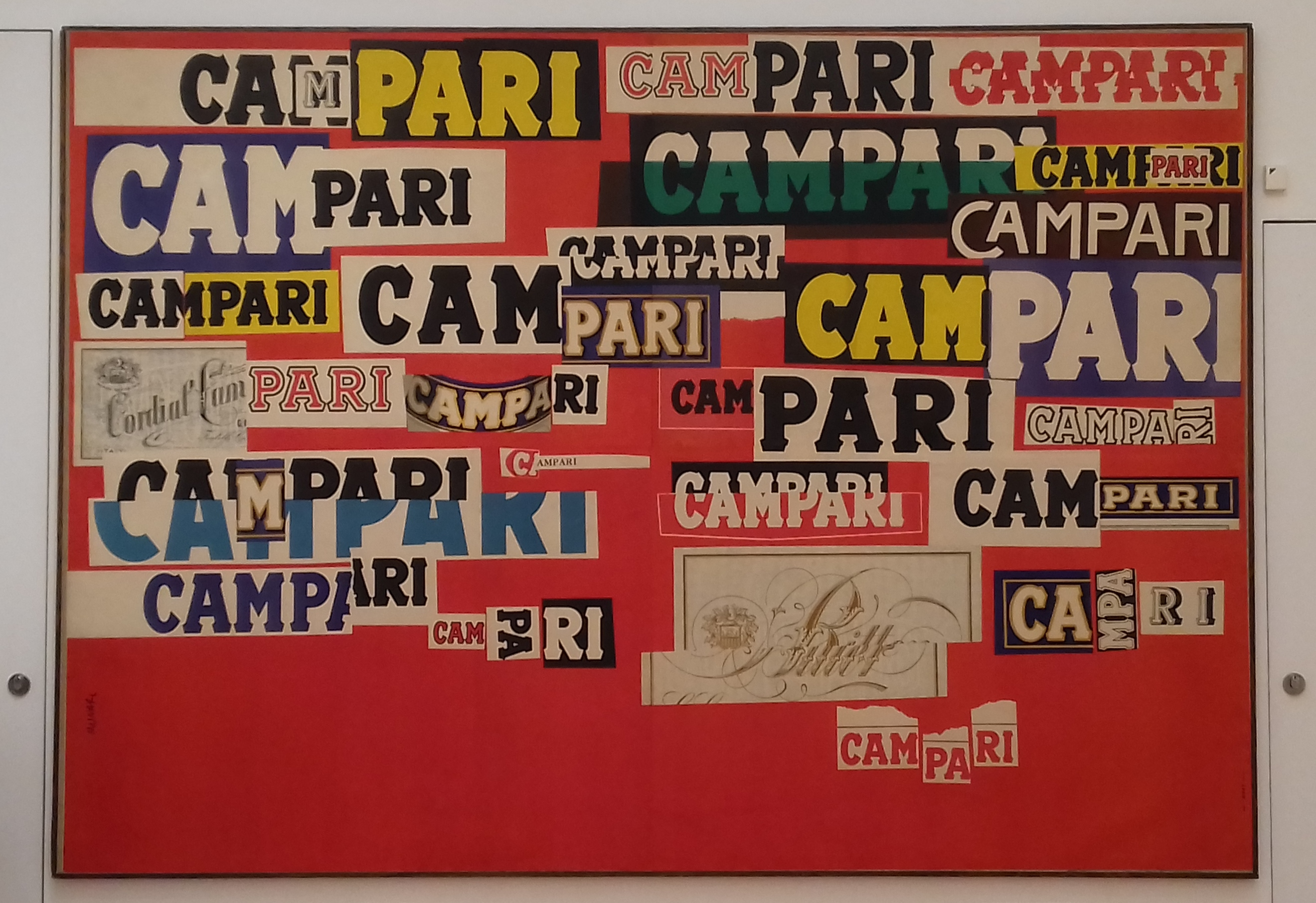 Bruno Munari, Graphic Variation on the Name Campari, 1964. The Art of Campari, Estorick Collection of Modern Italia Art. London 2018 © Paola Cacciari