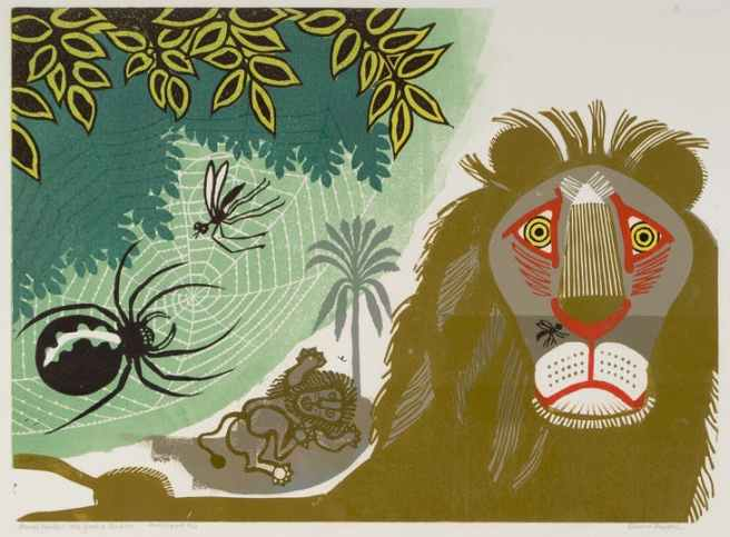 Edward Bawden, [Aesop's Fables] Gnat and Lion, 1970, Colour linocut on paper, Trustees of the Cecil Higgins Art Gallery (The Higgins Bedford) Estate of Edward Bawden
