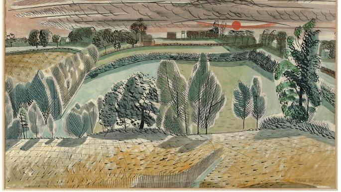 Edward Bawden, Textile Study, 1950s, Watercolour, Private Collection Estate of Edward Bawden