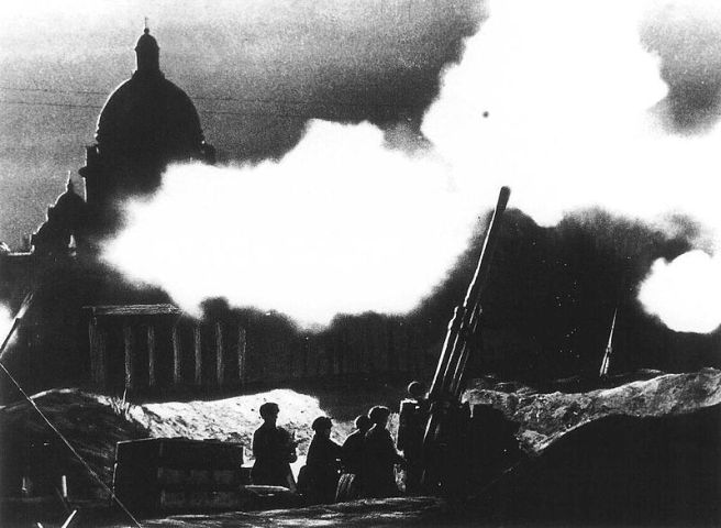The fire of anti-aircraft guns deployed in the neighborhood of St. Isaac's cathedral during the defense of Leningrad (now called St. Petersburg, its pre-Soviet name) in 1941.