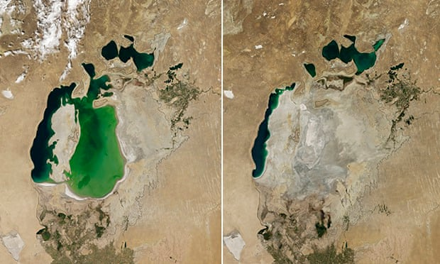 The Aral Sea in 2000 on the left and 2014 on the right. Photograph: Atlas Photo Archive/NASA