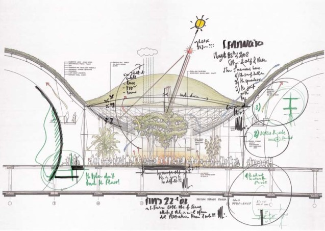 Renzo Piano Building Workshop, Sketch of the California Academy of Sciences, 2009.