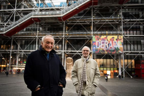 Richard Rogers (left) and Renzo Piano pose in front of the Pompidou Center in 2017. Credit MARTIN BUREAUAFPAFPGetty Images
